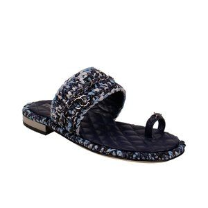 CHANEL Raffia Chain Sandals 10/41